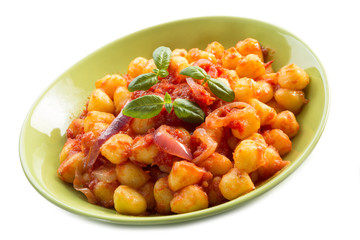 gnocchi with tomatoes sauce and basil