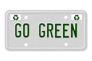 Go Green Car License Plate