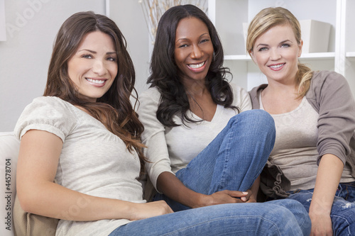 Interracial Group of Three Beautiful Women Friends Smiling