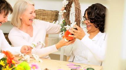 Mature Ladies Hobby Flower Arranging