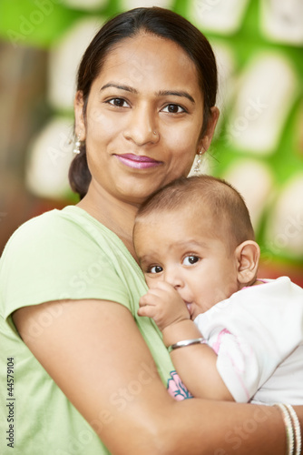 Indian woman mother and child boy