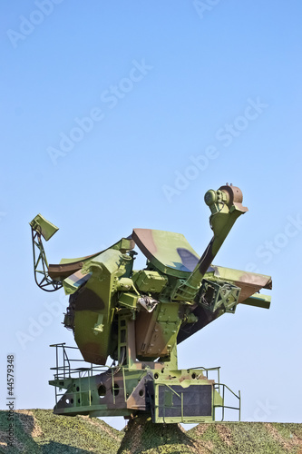 Russian soviet radar with camouflage netting