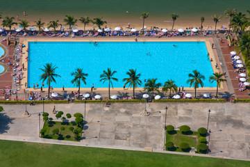 Beautiful beach in Pattaya, Thailand. Top view.