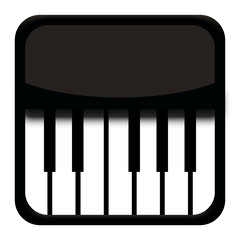 Classic piano icon isolated on white background