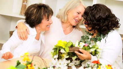 Retired Ladies Fun Flower Arranging
