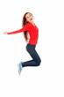 jumping trendy teen girl, full length, white background