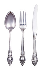 Retro cutlery set with fork knife and spoon isolated on white