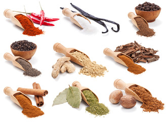 Spices and herbs isolated on white