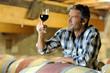 Winemaker tasting red wine in winery