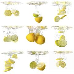 Wasserspiel mit Citrusfrüchten
