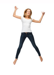 jumping teenage girl in blank white t-shirt