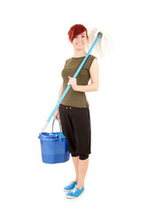 young woman with mop ready to cleaning floor