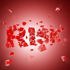 Broken risk, word crashed into pieces
