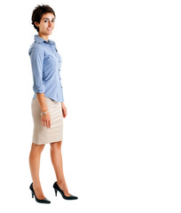 Full length businesswoman isolated on white