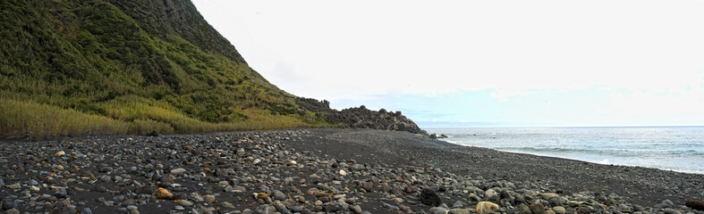 acores; deserted beach on flores