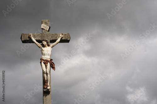 Leinwandbild Motiv Jesus Christ crucifixion sculpture