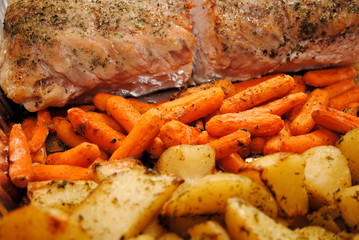 Roasted Beef, Carrots and Potatoes