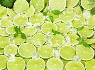 Lime, mint and ice