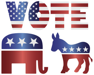 Vote Republican Elephant and Democrat Donkey Illustration