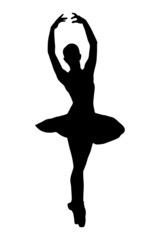 A silhouette of a ballerina dancer making a ballet