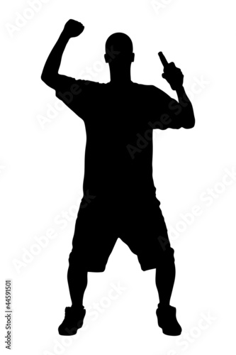 A silhouette of a male sport fan with a beer