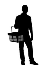 A silhouette of a man holding a shopping basket