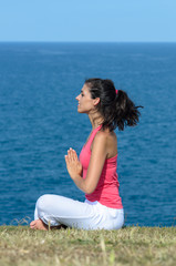 Yoga breathe exercise and sea