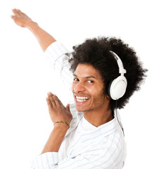 Cool man listening to music