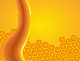 Honey dripping on the honeycomb