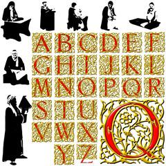 historic characters arabesque abc alphabet background