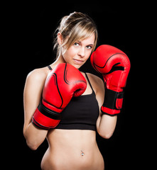 Female boxer portrait