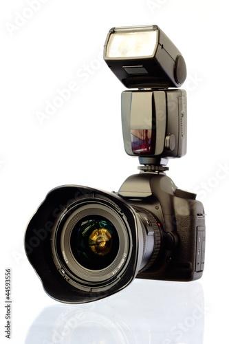 Leinwanddruck Bild Digitale Spiegelreflexkamera Mit Blitz