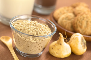 Powdered Maca or Peruvian ginseng (lat. Lepidium meyenii)