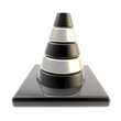 Glossy road cone colored black and silver isolated