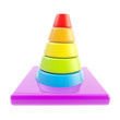 Glossy road cone colored in rainbow gradient0 isolated