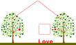 love home with heart trees