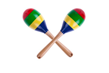 pair of colorful wooden maracas isolated on white background