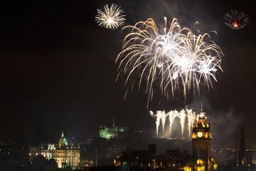 Panoramic vew on Edinburgh castle with fireworks