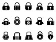 black lock icons set