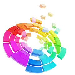 Color range spectrum palette broken into pieces isolated