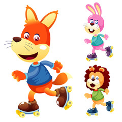 Illustration of cute animals on roller Skate