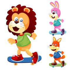 Illustration of cute animals on Skateboard