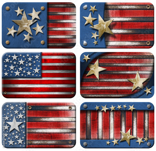 Set of USA Grunge Flags