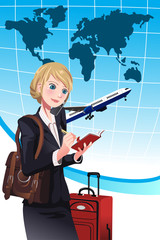Traveling businesswoman