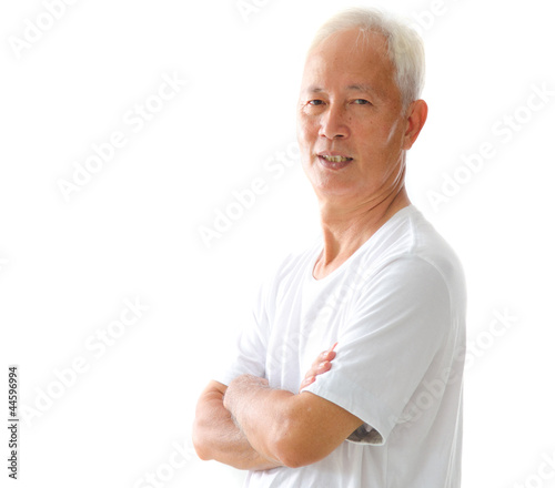 happy looking asian senior male