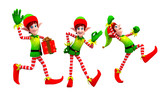 elves dancing with gift poster