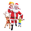 santa and reindeer with kids