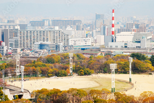 view of Osaka City with Osaka Castle Park Baseball ground