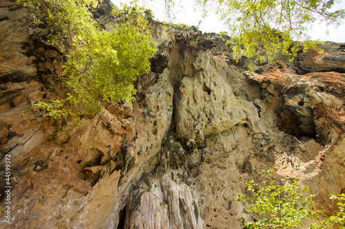 cliff, high stalactite cliff with green trees arond