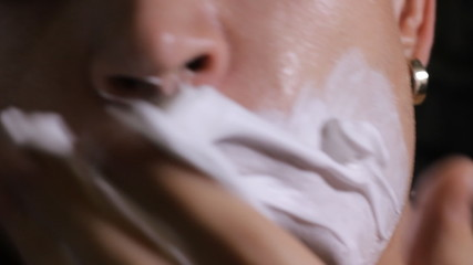 shaving cream hand close up